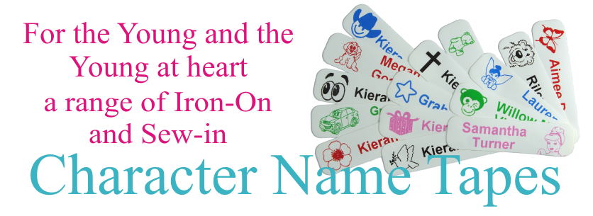 Iron on and sew in name Tags with picture for easy recognition