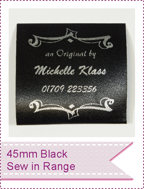 45mm Black Sew In loop fold Garment Labels