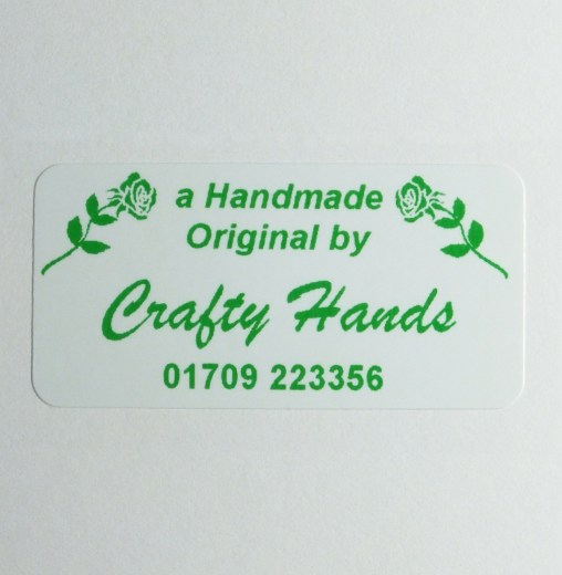Self adhesive Craft and Hobby label with double rose design printed in green