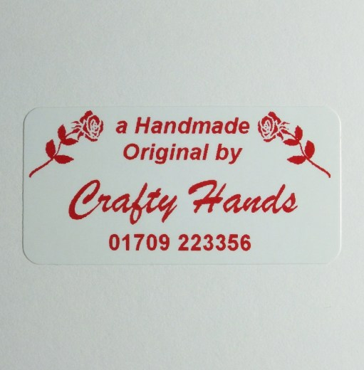 Peel 'n' Stick Craft and Hobby label with rose design printed in Red