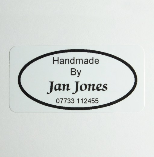 Classic Oval design product label printed in Black