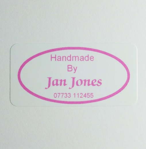 Custom printed label with your details within a Pink Oval