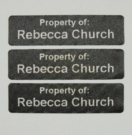 Die cut Iron On Black Nametapes 2 Line