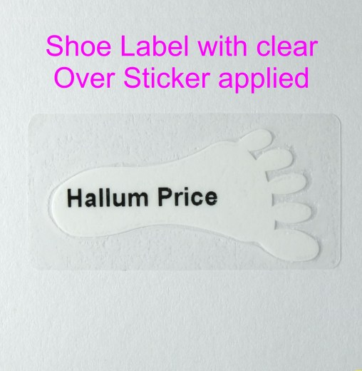 Personalised children's shoe labels with clear protective over sticker