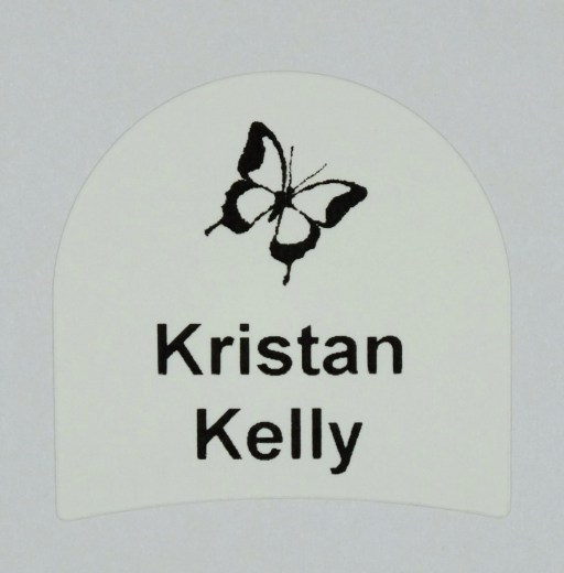 Youth Shoe label with Butterfly design printed with your child's name