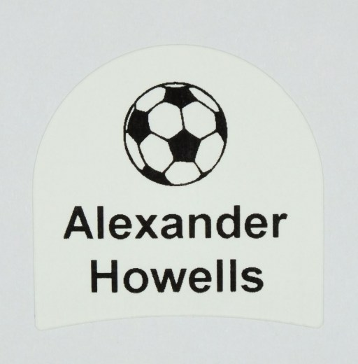 Shoe label with football motif printed with your name | fast UK delivery