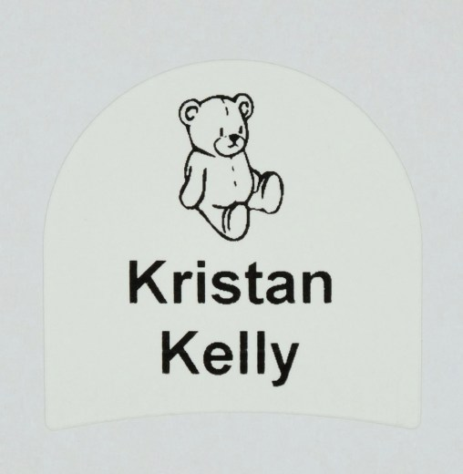 School shoe label with your childs name and Teddie Bear picture