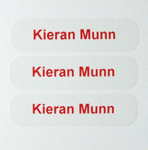 Personalised plastic label printed with your name