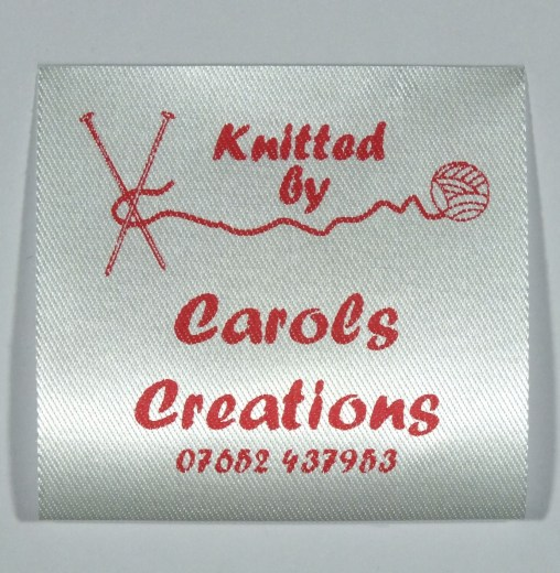 Sew in label with needles and wool for your knitted garments