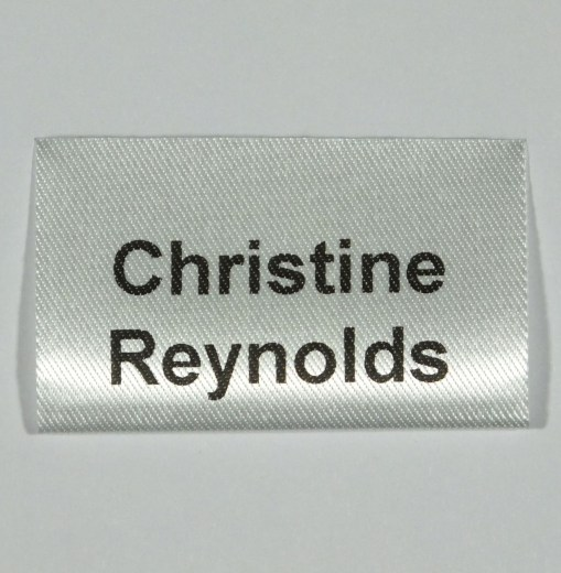 Printed double sided sew in name label