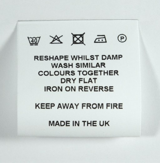 Fray resist Loop-fold Wash Care label 40mm